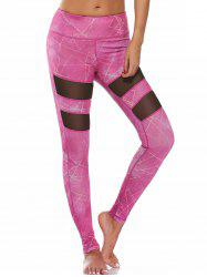 Pattern High Waisted Mesh Panel Leggings