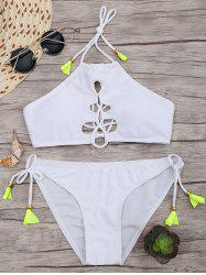 Lace Up Halter Bikini with Padded Cups