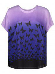 Butterfly Print Ombre Oversized T-Shirt