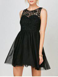 Voile Lace Mini Cocktail Short Skater Dress - BLACK