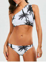 One Shoulder Coconut Tree Tropical Bikini