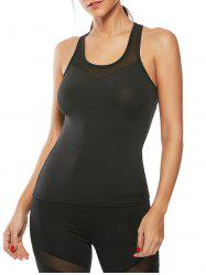 Mesh Insert Workout Running Tank Top - BLACK