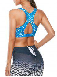 Colorful Printed Padded Racerback Sports Cutout Bra - AZURE