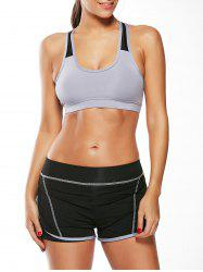 Strappy Sports Padded Bra et Layer Running Shorts - Gris S