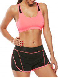 Strappy Sports Padded Bra and Layer Running Shorts - WATERMELON RED S