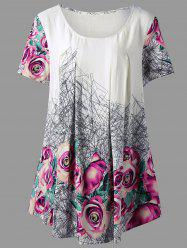 3D  Printed Rose Plus Size Tunic Top