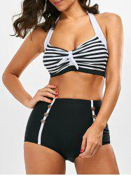 Stripe Halter Bikini with Padded Cups