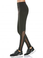HIgh Rise Mesh Panel Workout Leggings - BLACK