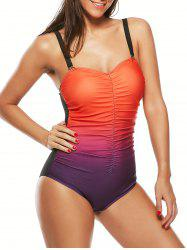 Scrunch Front Ombre Color Swimsuit