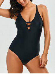 One Piece Strappy Cami Swimsuit - BLACK
