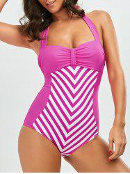 Striped Halter One Piece Swimwear