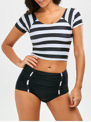 Stripe Ruched Short Sleeve Tankini Set