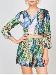 Palm Leaf Printed Chiffon Cardigan Top With Shorts