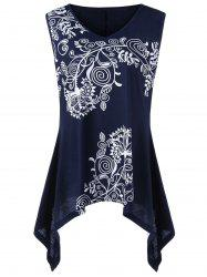 Bandana Floral V Neck Plus Size Tank Top - PURPLISH BLUE 3XL
