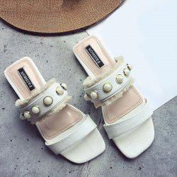 Faux Pearls PU Leather Slippers