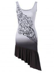 Bandana Floral Ruffle Asymmetric Tank Dress