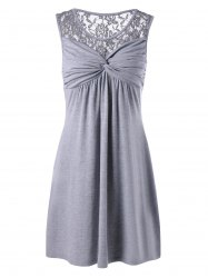 Twist Front Lace Panel Sleeveless Dress - GRAY