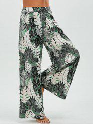 Leaf Pattern Tropical Palazzo Pants - GREEN