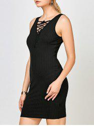 Lace Up Ribbed Bodycon Tank Dress