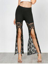 Ankle Length Lace Trim High Slit Pants