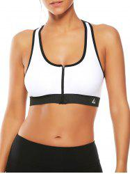 Cutout  Racerback Padded Sports Zip Front Bra - WHITE