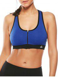 Cutout  Racerback Padded Sports Zip Front Bra -