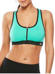 Cutout  Racerback Padded Sports Zip Front Bra - GRASS GREEN
