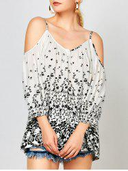 Open Shoulder Tiny Floral Blouse