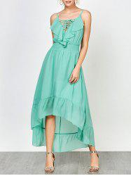 Spaghetti Strap High Low Lace Up Prom Dress