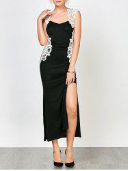 Lace Panel High Slit Evening Dress