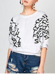 Печать Dolman Sleeve Graphic Top - Белый