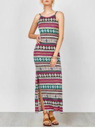 Aztec Print Backless Maxi Slip Robe d'été - Multicolore