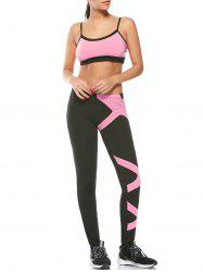 Sports Padded Bra and Two Tone Fitness Leggings - PINK M