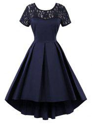 High Low Lace Insert Vintage Dress - PURPLISH BLUE