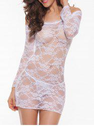 Lace Long Sleeve Sheer Lingerie Sleep Dress