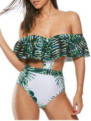 Leaf Print Bandeau One Piece Underwire Monokini Swimsuit - GREEN