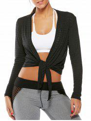 Collarless Quick Dry Front Wrap Top - BLACK