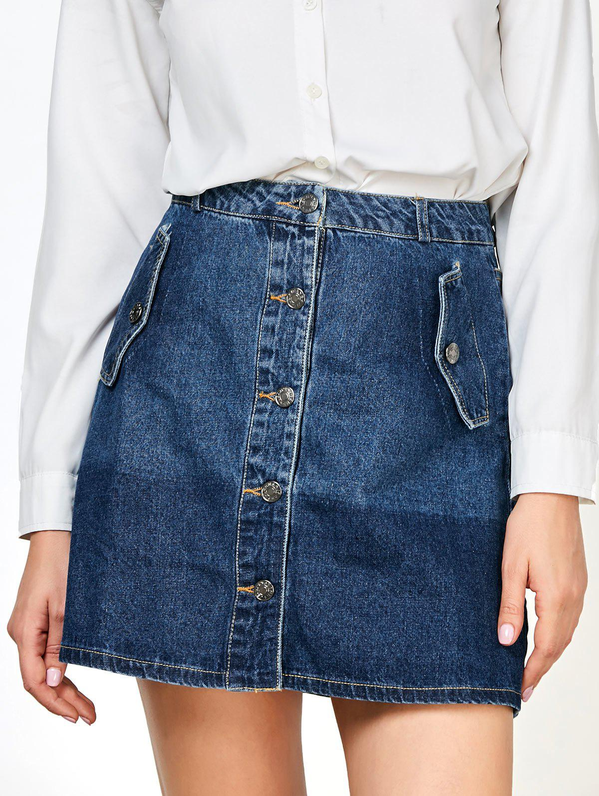Hot Denim Buttons Mini Ombre Skirts with Pockets