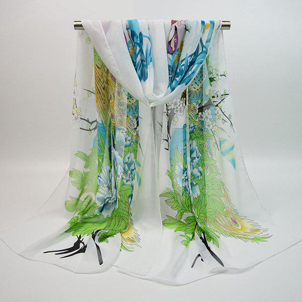 Outfit Chiffon Chinoiserie Blooming Flowers Peacock Printing Scarf