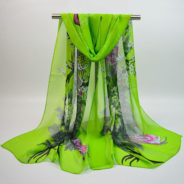 Chiffon Chinoiserie Blooming Flowers Peacock Printing ScarfACCESSORIES<br><br>Color: GREEN; Scarf Type: Scarf; Group: Adult; Gender: For Women; Style: Vintage; Material: Polyester; Pattern Type: Animal,Floral; Season: Fall,Spring,Summer,Winter; Scarf Length: 155CM; Scarf Width (CM): 50CM; Weight: 0.0350kg; Package Contents: 1 x Scarf;