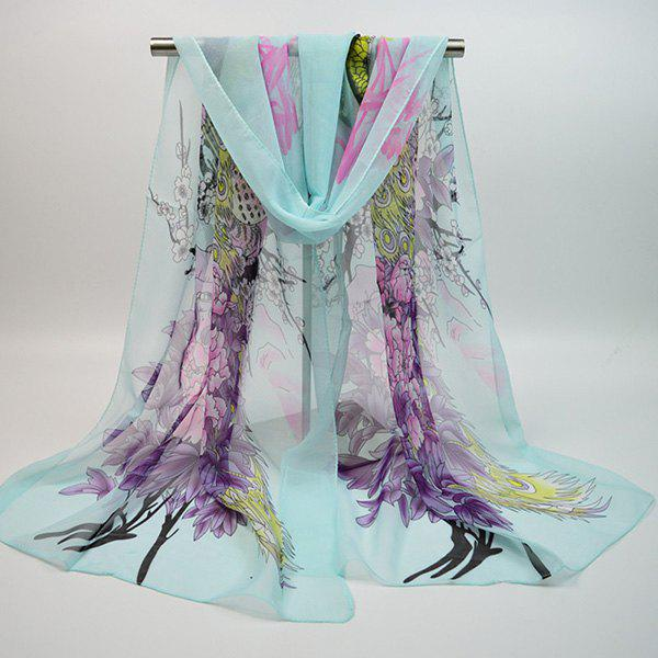 Discount Chiffon Chinoiserie Blooming Flowers Peacock Printing Scarf