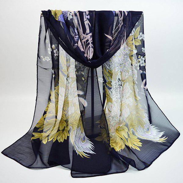 Online Chiffon Chinoiserie Blooming Flowers Peacock Printing Scarf