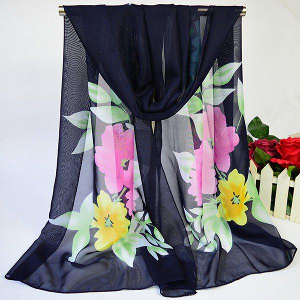 Showy Blooming Flowers Printed Lightsome Chiffon ScarfACCESSORIES<br><br>Color: CADETBLUE; Scarf Type: Scarf; Group: Adult; Gender: For Women; Style: Fashion; Material: Polyester; Pattern Type: Floral; Season: Fall,Spring,Summer,Winter; Scarf Length: 155CM; Scarf Width (CM): 50CM; Weight: 0.0350kg; Package Contents: 1 x Scarf;
