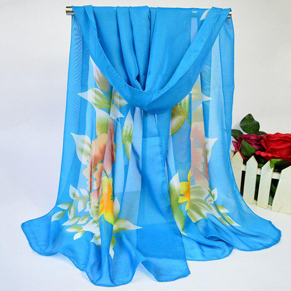 Trendy Showy Blooming Flowers Printed Lightsome Chiffon Scarf