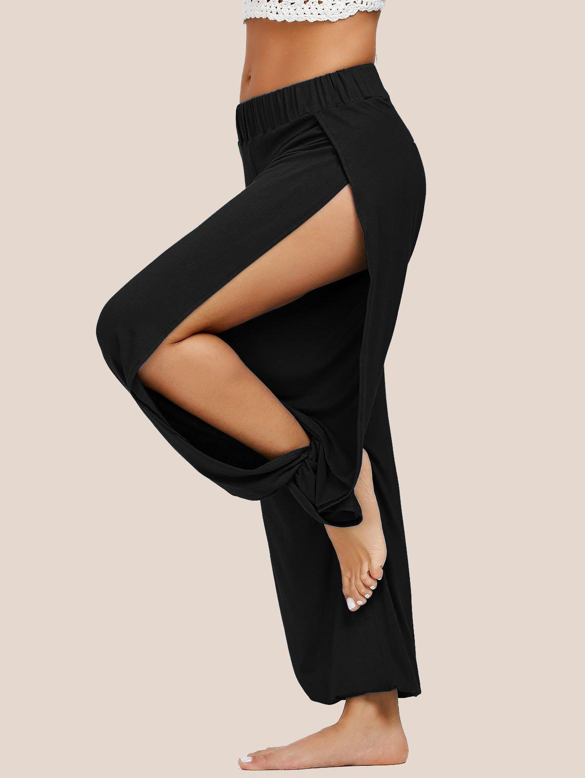 Elastic Waist High Slit Harem PantsWOMEN<br><br>Size: L; Color: BLACK; Style: Casual; Length: Normal; Material: Polyester; Fit Type: Loose; Waist Type: Mid; Closure Type: Elastic Waist; Pattern Type: Solid; Pant Style: Harem Pants; Weight: 0.3900kg; Package Contents: 1 x Pants;