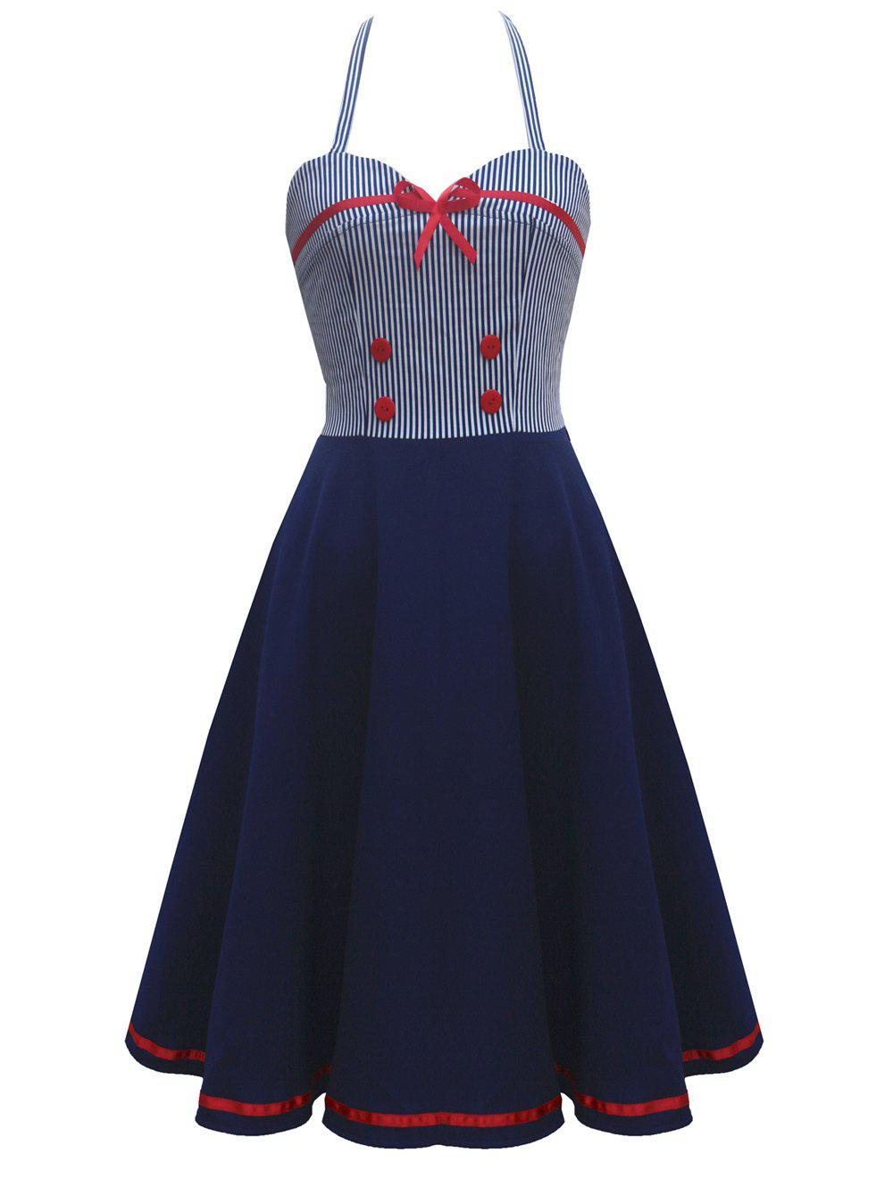 Vintage Contrast Buttoned Pinstripe Panel DressWOMEN<br><br>Size: S; Color: PURPLISH BLUE; Style: Vintage; Material: Polyester; Silhouette: A-Line; Dresses Length: Knee-Length; Neckline: Halter; Sleeve Length: Sleeveless; Pattern Type: Patchwork; With Belt: No; Season: Spring,Summer; Weight: 0.4000kg; Package Contents: 1 x Dress;