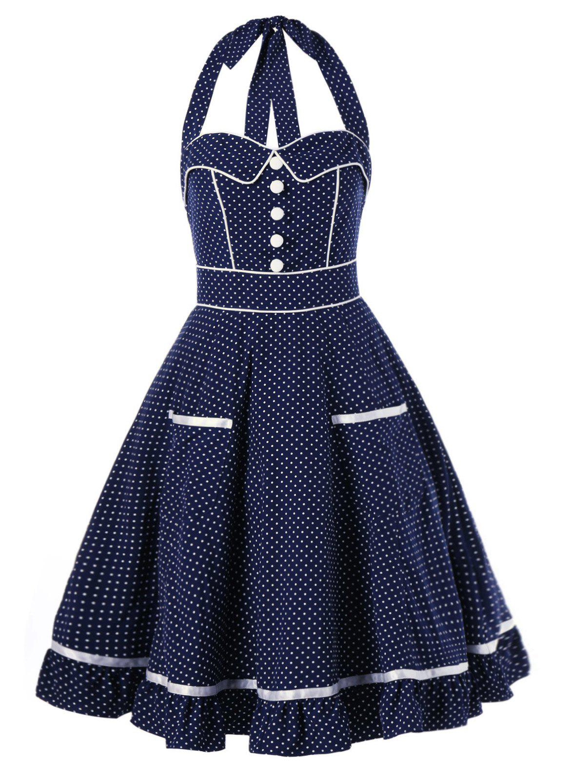 Sale High Waist Polka Dot Printed Halter Pin Up Dress