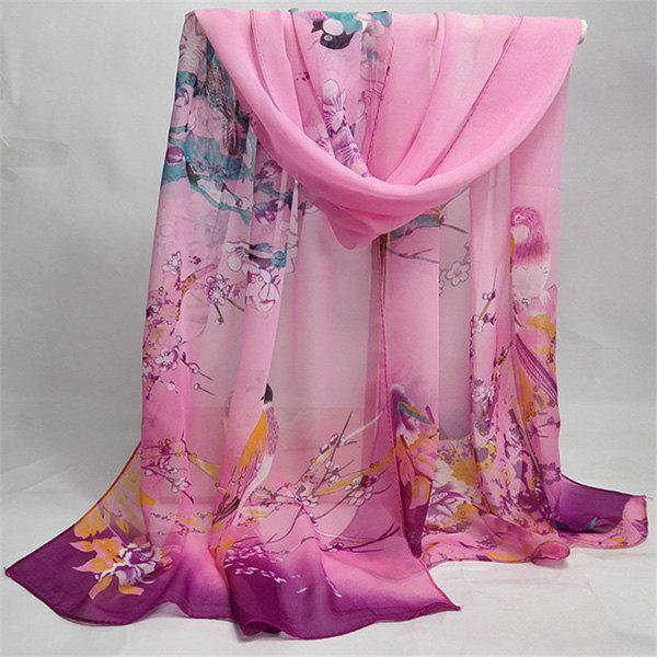 Chinoiserie Flowering Branch Bird Printing Shawl ScarfACCESSORIES<br><br>Color: PINK; Scarf Type: Scarf; Group: Adult; Gender: For Women; Style: Vintage; Material: Polyester; Pattern Type: Animal,Floral; Season: Fall,Spring,Summer,Winter; Scarf Length: 155CM; Scarf Width (CM): 50CM; Weight: 0.0350kg; Package Contents: 1 x Scarf;
