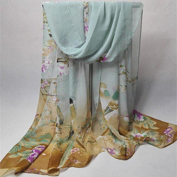 Chinoiserie Flowering Branch Bird Printing Shawl ScarfACCESSORIES<br><br>Color: BLUE GRAY; Scarf Type: Scarf; Group: Adult; Gender: For Women; Style: Vintage; Material: Polyester; Pattern Type: Animal,Floral; Season: Fall,Spring,Summer,Winter; Scarf Length: 155CM; Scarf Width (CM): 50CM; Weight: 0.0350kg; Package Contents: 1 x Scarf;