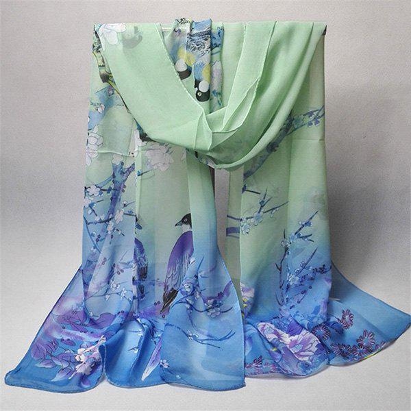 Chinoiserie Flowering Branch Bird Printing Shawl ScarfACCESSORIES<br><br>Color: BLUE GREEN; Scarf Type: Scarf; Group: Adult; Gender: For Women; Style: Vintage; Material: Polyester; Pattern Type: Animal,Floral; Season: Fall,Spring,Summer,Winter; Scarf Length: 155CM; Scarf Width (CM): 50CM; Weight: 0.0350kg; Package Contents: 1 x Scarf;